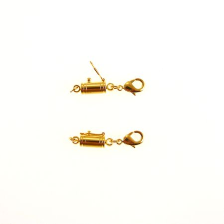 Easy On Off Magnetic Necklace Clasp with Safety Lock - Gold