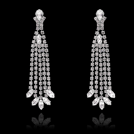 Stunning Swarovski Chandelier Clip On Earrings 14cm Silverback – Clip on Earrings Chandelier