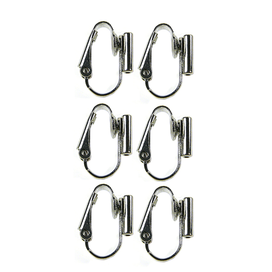Clip On Earrings Converter Posts - Rhodium Silver 3 Pairs