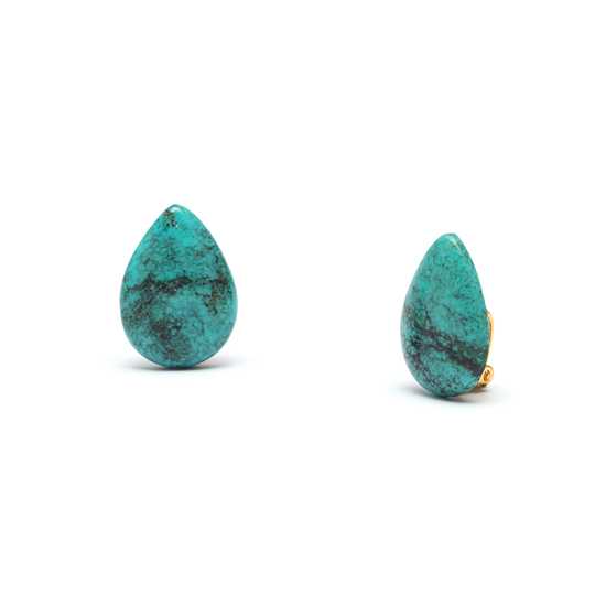 Natural Turquoise Teardrop Button Clip On Earrings